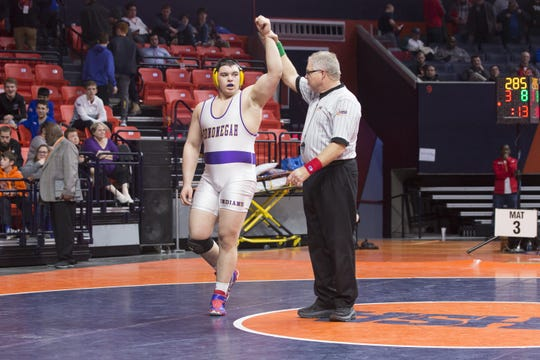Hononegah senior Anthony Cassioppi wins the 285-pound class of the IHSA Class 3A State Championship on Saturday, Feb. 17, 2018, at the State Farm Center at the University of Illinois in Champaign.