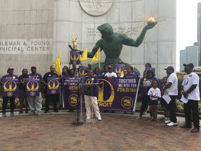 Kris Sherman-Burns has been a union member for nearly 15 years, working at Joe Louis Arena for 14 years before the new Little Caesars Arena. She speaks at SEIU's announcement on July 31, 2018.