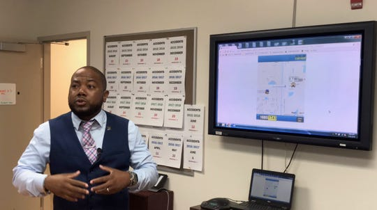 Robert Codie, Lee County schools executive director of transportation services, descrivbes a new app for parents or guardians of Lee County school students will let them track their child's bus to and from school.