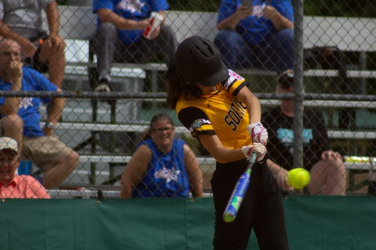 Southeast's Melanie Almanza makes contact. The Southeast Senior Little League softball team from Florida District 9 dropped a close game to Central out of Fort Wayne, Indiana, 5-4 on Tuesday afternoon in Roxana, Delaware.