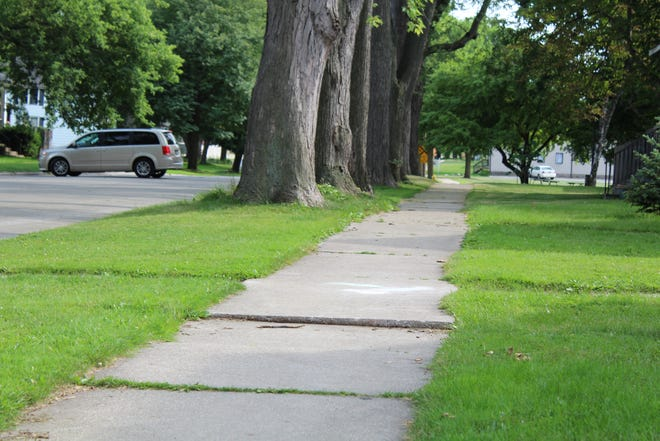 An uneven sidewalk on Green Bay's west side.