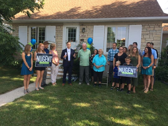 Peter Nugent announced plans to run for Green Bay mayor on July 31, 2018, in front of his childhood home on Green Bay's west side.