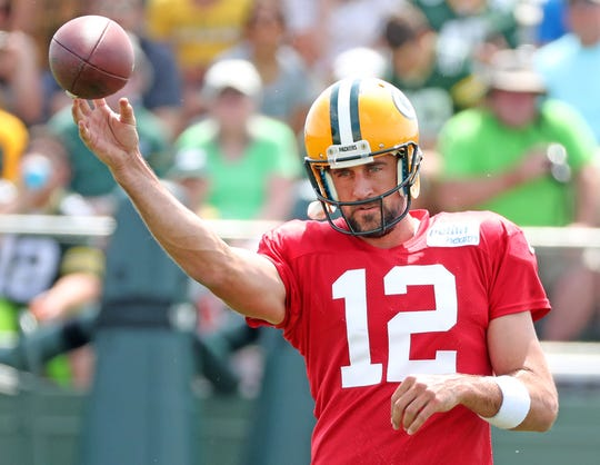 Green Bay Packers quarterback Aaron Rodgers (12) throws during Green Bay Packers Training Camp Tuesday, July 31, 2018 at Ray Nitschke Field in Ashwaubenon, Wis.