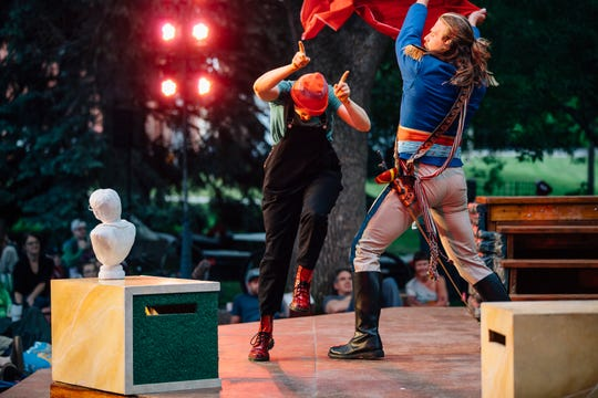 """Montana Shakespeare in the Parks performs """"Love's Labour's Lost"""" Wednesday, June 20, 2018, at the Montana State University Duck Pond in Bozeman."""
