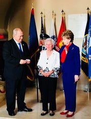 World War II survivor Irene Sgambelluri is flanked by Guam Del. Madeleine Bordallo, right, and Del. Gregorio Kilili Camacho Sablan of the Northern Mariana Islands, left, at the Army Full Honors Wreath Laying Ceremony at the Tomb of the Unknown Soldier in Arlington National Cemetery, Arlington, Virginia on July 16, 2018. The Wreath Laying Ceremony at the Tomb of the Unknown Soldier in commemoration of the 74th Anniversary of the Liberation of Guam and the Battle for the Northern Mariana Islands.
