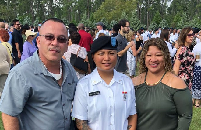 Guam Army National Guard Pvt. Ashley San Nicolas, center, completed basic training at the U.S. Army Training Center in Fort Jackson, South Carolina. Her mother Marie Cambonga and stepfather parents Jed Santo Tomas attended her graduation ceremony on July 19, 2018.