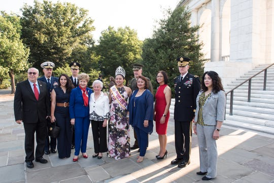Irene Sgambelluri, survivor of the Japanese occupation of Guam, center; and other participants pose for a group photo before a Wreath Laying Ceremony at Arlington National Cemetery, Arlington, Virginia, on July 16, 2018. The Wreath Laying Ceremony at the Tomb of the Unknown Soldier in commemoration of the 74th Anniversary of the Liberation of Guam and the Battle for the Northern Mariana Islands. (DoD Photo by U.S. Army Sgt. James K. McCann)