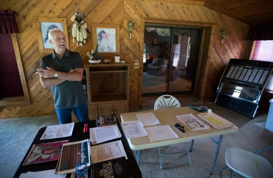 Rick Sherwood, in the room he used for his code breaking, says he has determined the identity of infamous hijacker D.B. Cooper, Wheatfield, Tuesday, July 17, 2018. Sherwood did not know the person called D.B. Cooper, but they served in the same Army unit in Vietnam, and Sherwood used code breaking tricks he learned during his time there to identify a San Diego man he says is actually Cooper.