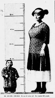 "A newspaper article from the St. Louis Dispatch on Sunday, April 18, 1926 features Che-Mah, the ""Chinese Dwarf"" and the smallest man in the world with his and his wife Norah Cleveland, married 1909, who weighed 200 pounds. Che-Mah, who retired to Knox Ind. from his successful career touring internationally as the smallest man in the world, measured 28 inches tall and weighed 40 pounds."