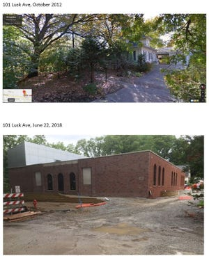 The top image shows a Google Street View shot of 101 Lusk Ave. in 2012. The bottom image is a photo of the same lot in 2018. The home on the lot is being designed as a replica of Kinnick Stadium