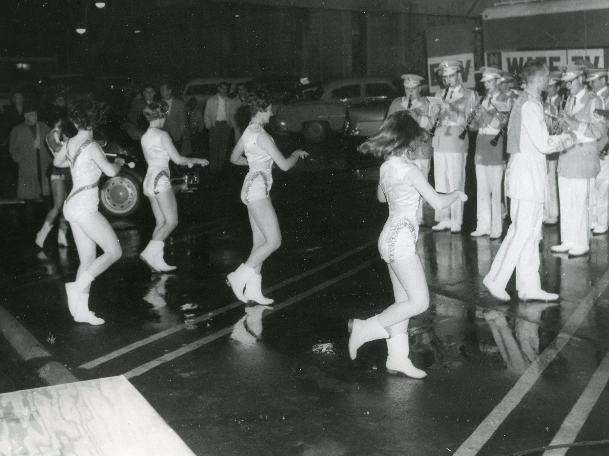 UT majorettes perform with the band, March, 1960.