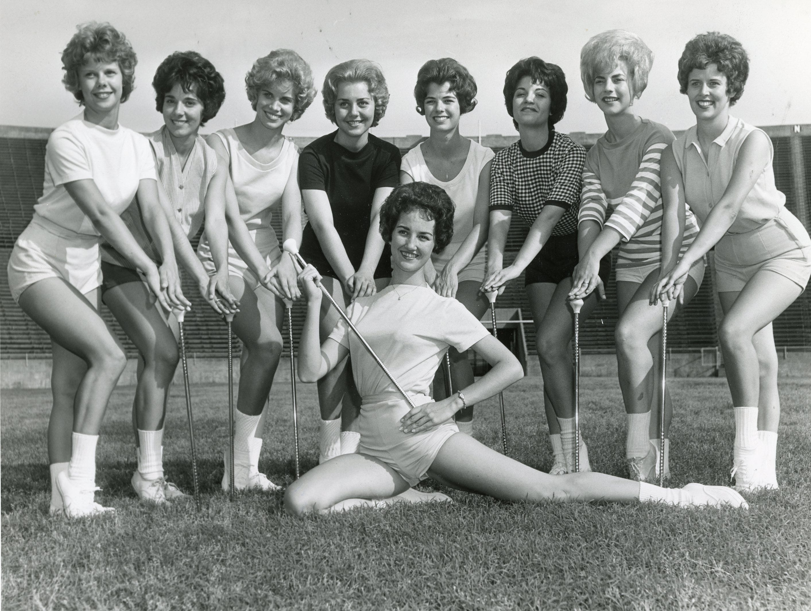 UT majorettes, May, 1962 included (front) Claudette Riley; (back) Mary Nicholon, Marcia Austin, Judy Barton, Judy Bailey, Bette Carlson, Betty Sue Little, DeAnna Smith and Marlene Bagwell.