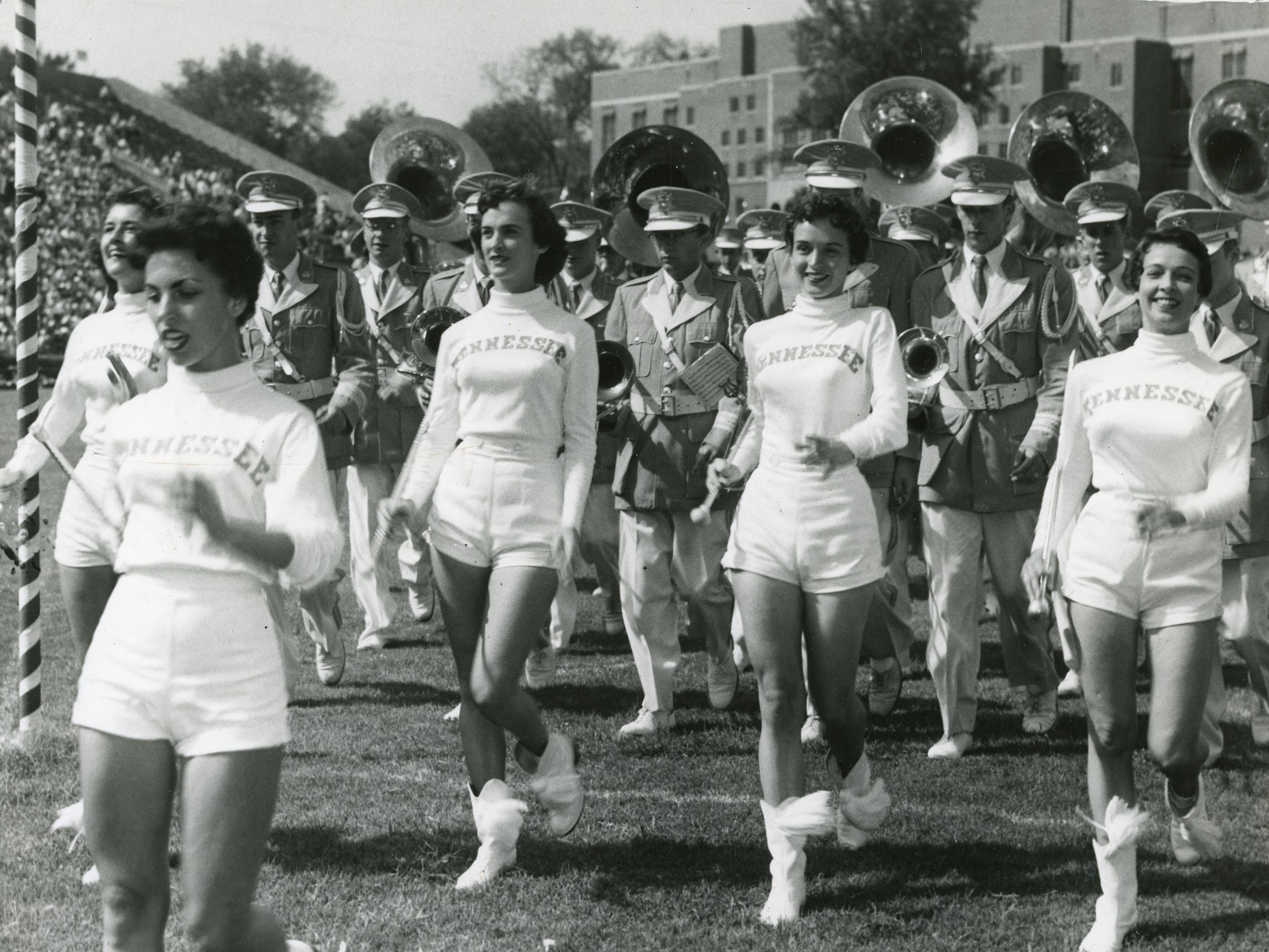 """In 1955 the majorettes were called """"High Steppers"""" Pictured here with the band are Sandee Hardee, Anne Dale Guinn, Carolyn Johnson, Luch Hatmaker and Mary Lee Thomas."""