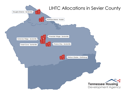 Affordable apartments developed with tax credits are being built across Sevier County, but concentrated in Sevierville.