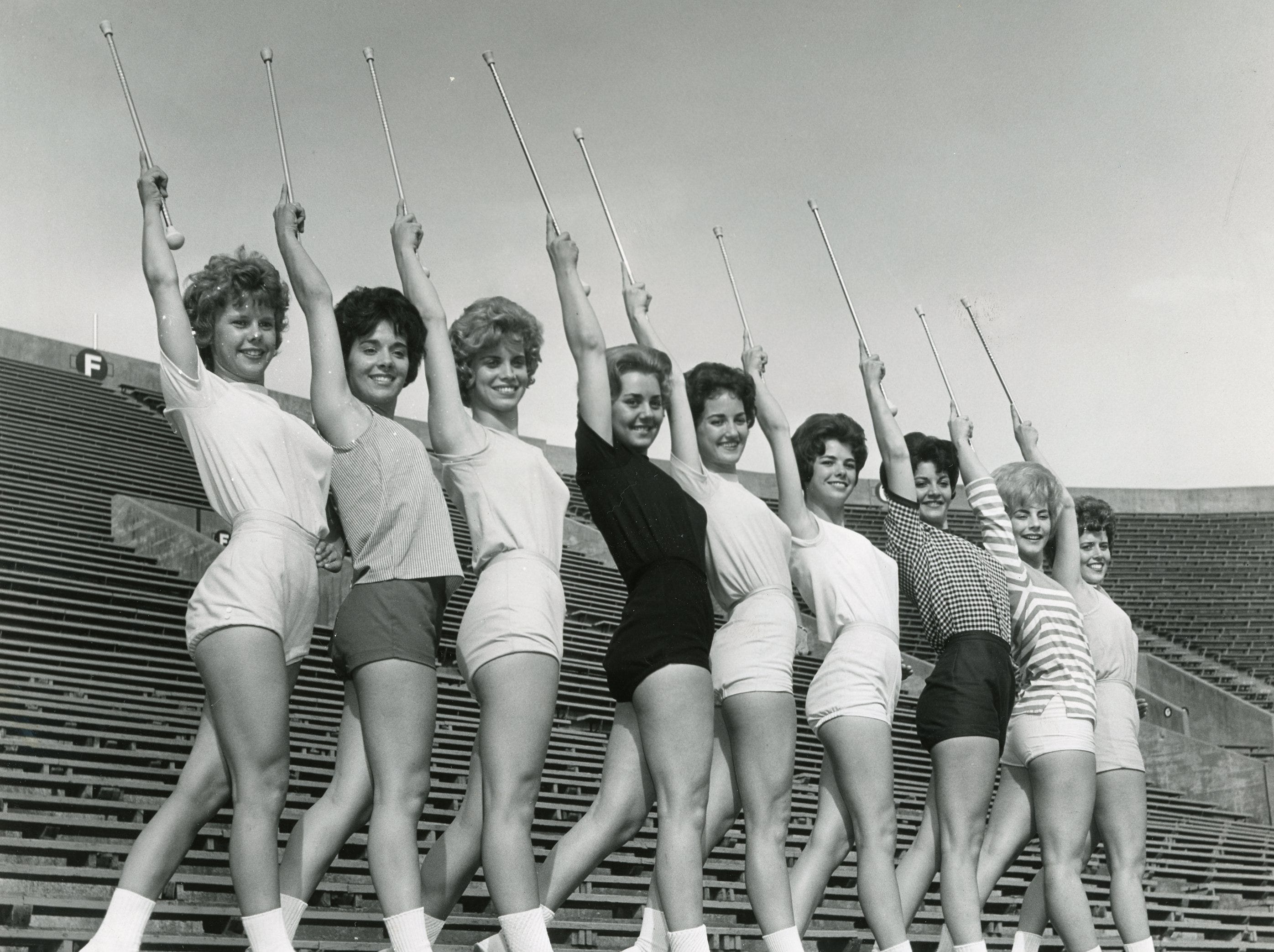 """UT """"High Steppers"""", May, 1962: from left included Mary Nicholon, Marcia Austin, Judy Barton, Judy Bailey, Claudette Riley, Bette Carlson, Betty Sue Little, DeAnna Smith and Marlene Bagwell."""