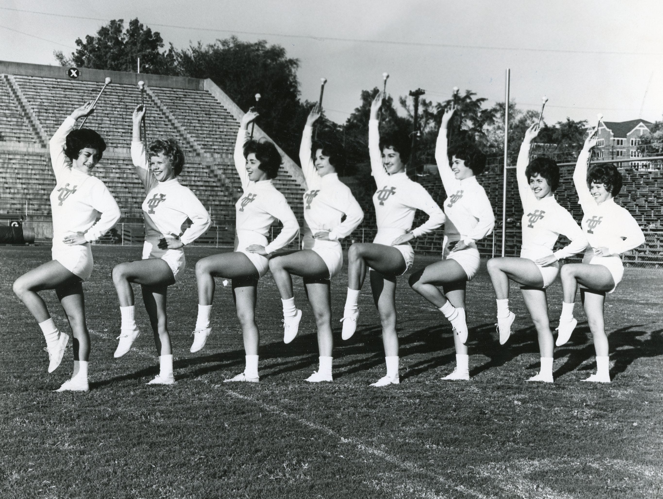 University of Tennessee majorettes for 1961 included Brenda Jo Smith, Mary Nicholson, Marcia Austin, Betty Sue Little, Claudette Riley, Bette Carlson, Ann Dafferner, Marlene Bagwell. Not pictured is DeAnn Smith.