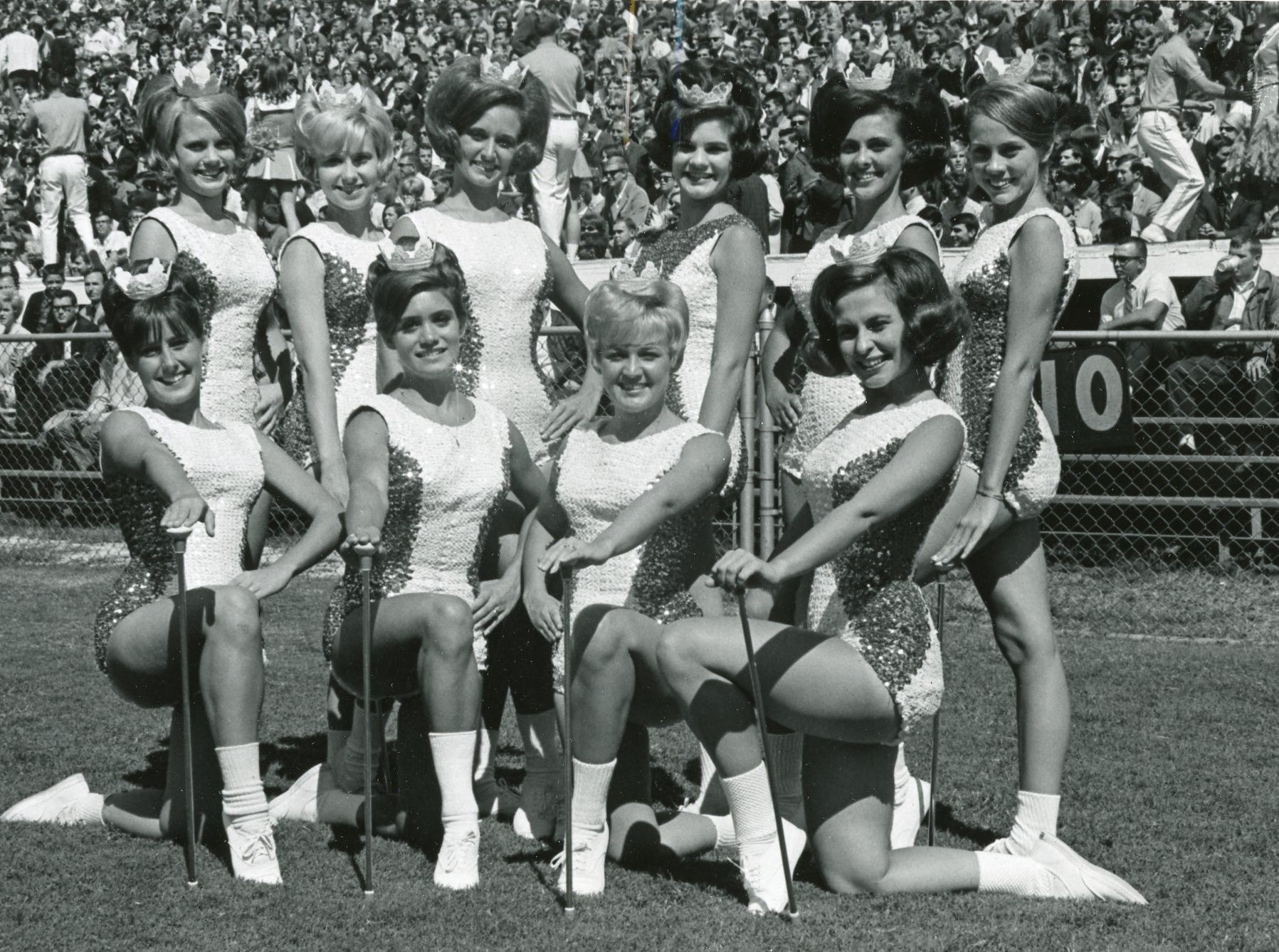 University of Tennessee majorettes, 1967: (front) Pete Payne, Becky Nanney, Elizabeth Sims, Elaine White; (back) Mary Luallen, Mary Carolyn Roper, Pam Bailey, head majorette Connie Phillips, Kathy Price and Annabell Agee.