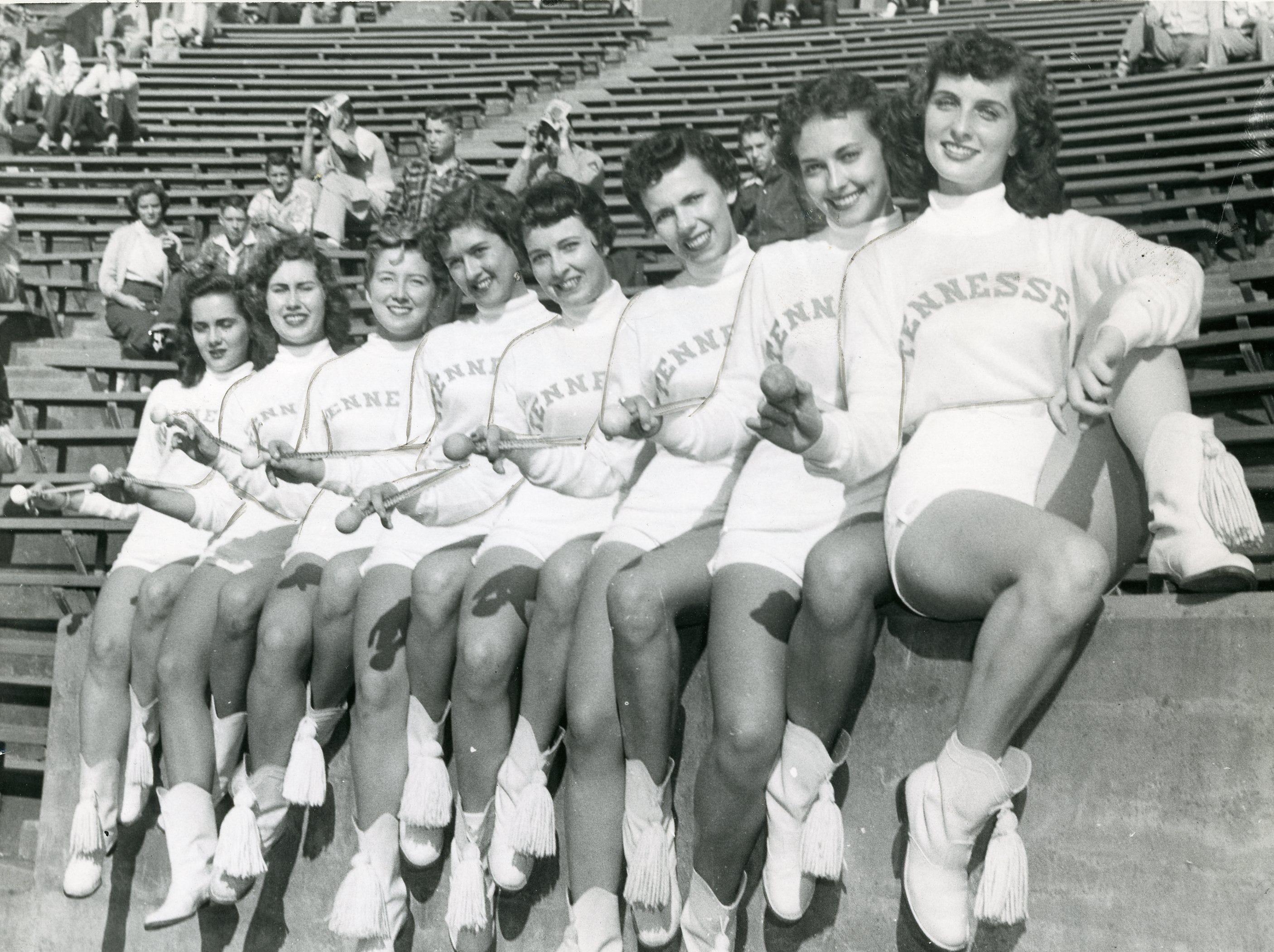 The 1954 UT majorettes included (from left) Bobbie Bird, Ernestine Freeman, Judy Lillard, Anne Dale Guinn, Mary Lee Thomas, Dorothy Faye Brown, Betty Shanton and Anne Thompson.