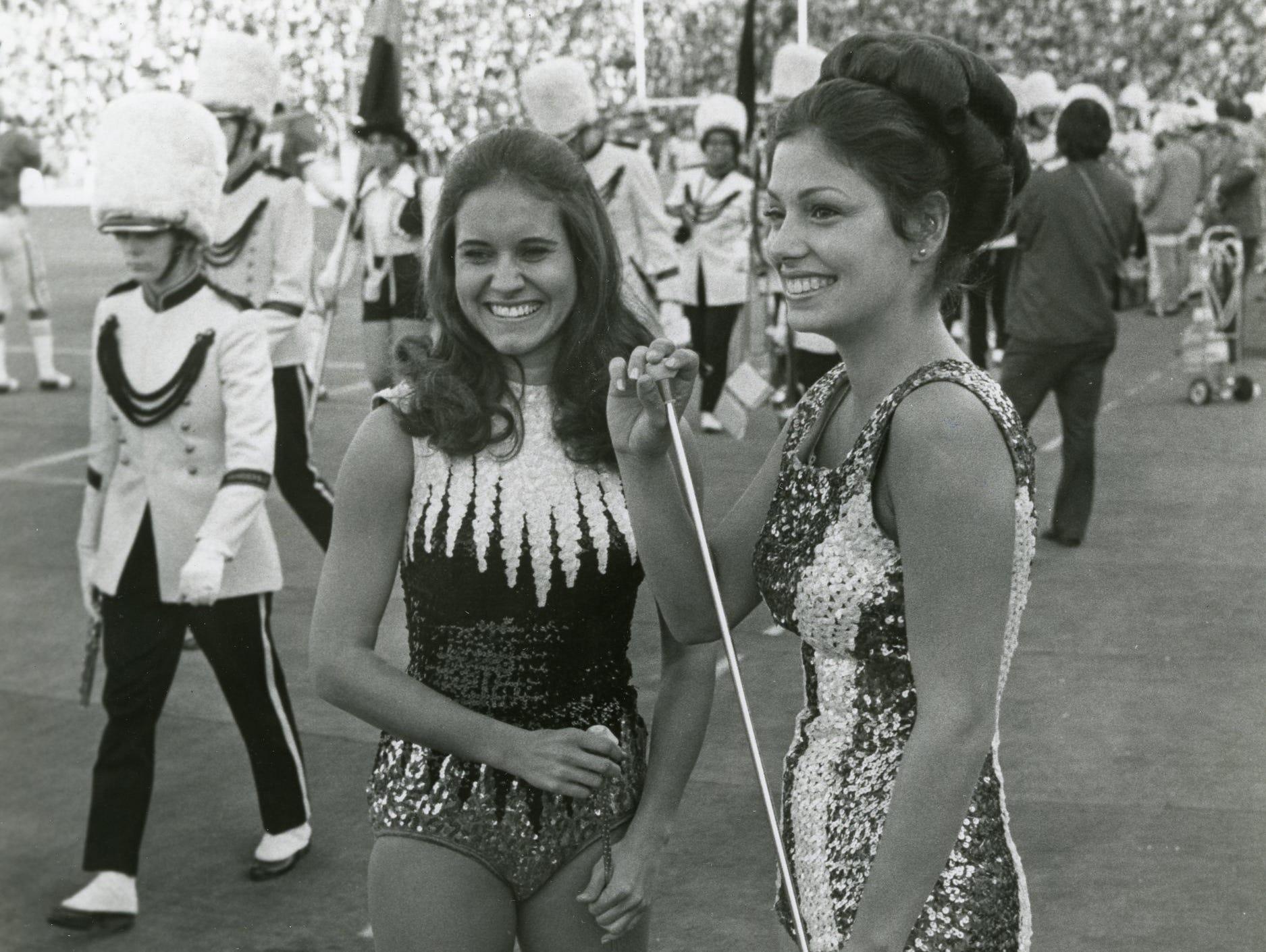 Vandy majorette Donette Foster and UT majorette Melinda Ortelanni, December, 1973.