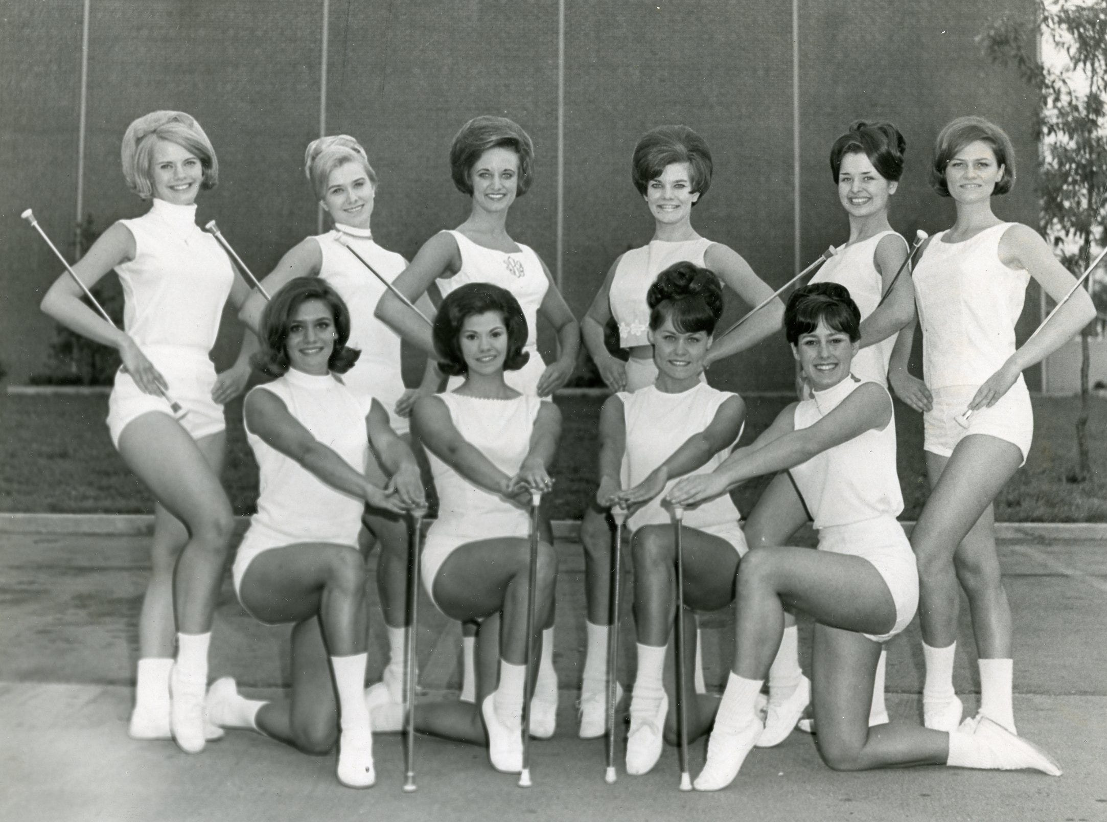 UT majorettes, 1968: (front) Becky Nanney, Janet Guthrie, Kathy Shields, Pete Payne; (back) Mary Luallen, Mary Carolyn Roper, Pam bailey, Connie Phillips, Gail Love and Kathy Pattison.