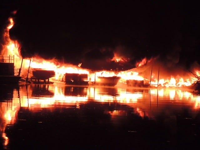 Fire at Melton Hill Marina on Monday, July 30, 2018.
