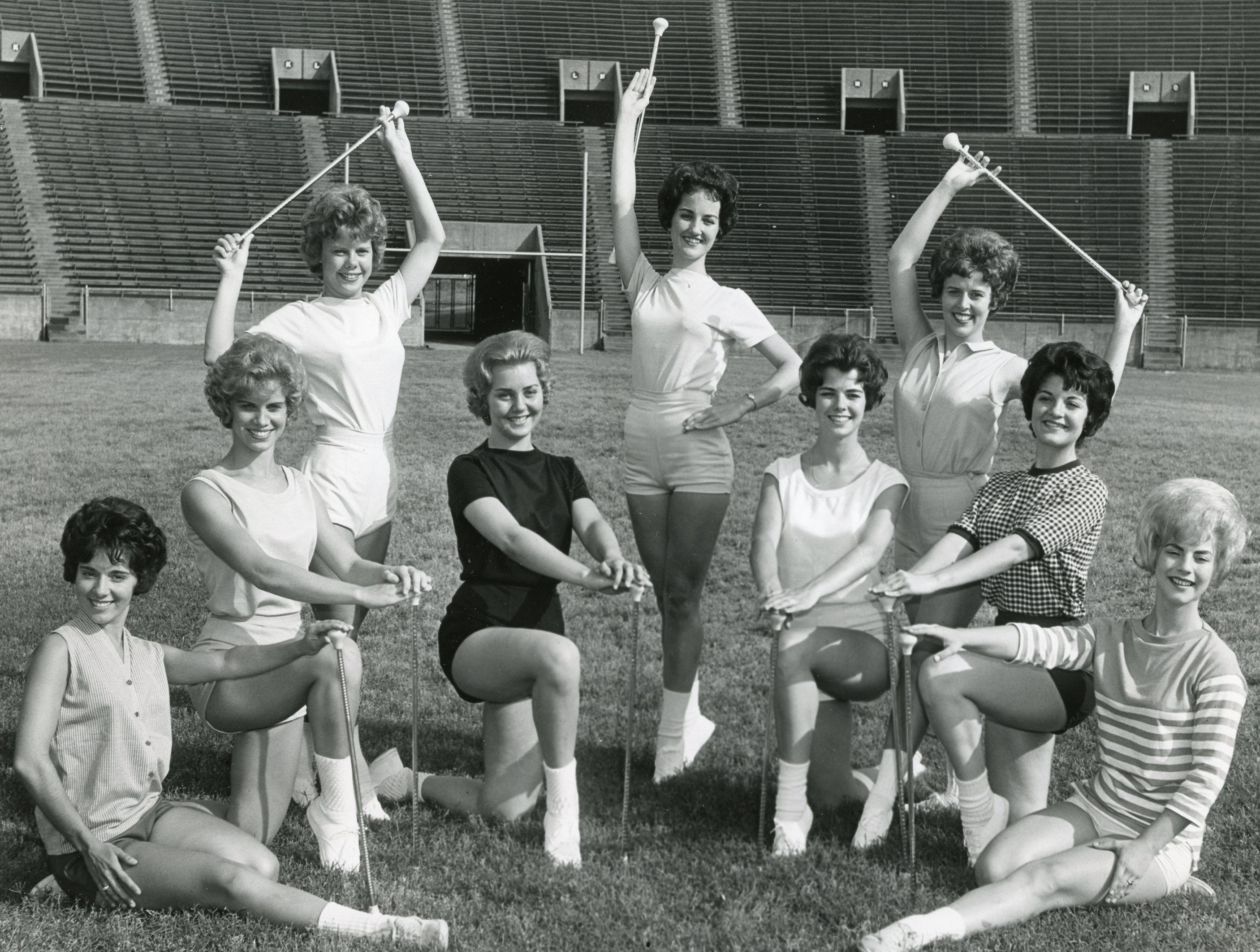 UT majorettes, May, 1962 included: (left to right) Marcia Austin, Judy Barton, Mary Nicholon, Judy Bailey, Claudette Riley, Bette Carlson, Marlene Bagwell, Betty Sue Little and DeAnna Smith.