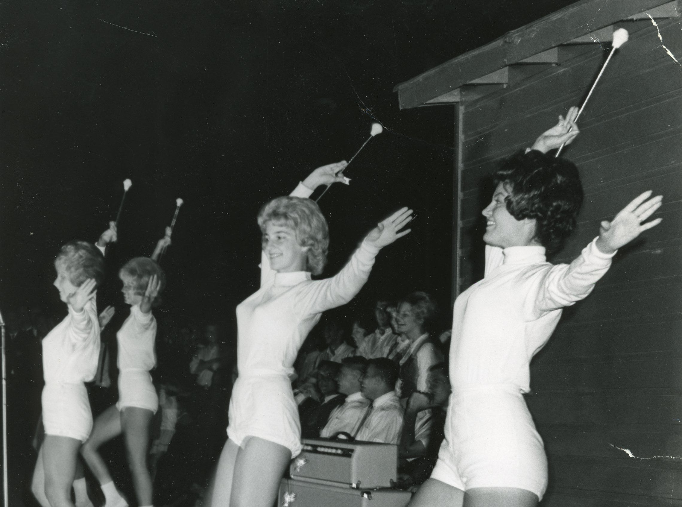 University of Tennessee majorettes perform during a September, 1963 pep rally.