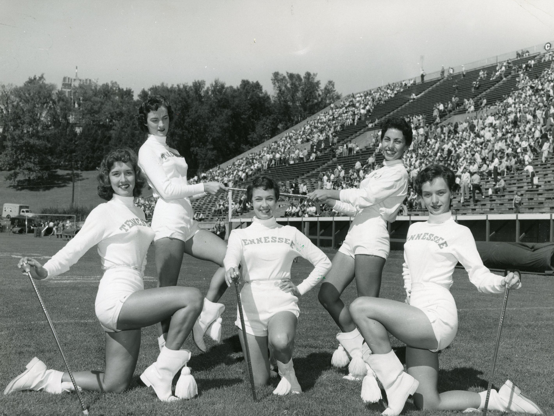 The 1955 UT majorettes: Anne Dale Guinn, Carolyn Johnson, Mary Lee Thomas, Sandee Hardee, Lucy Hatmaker.
