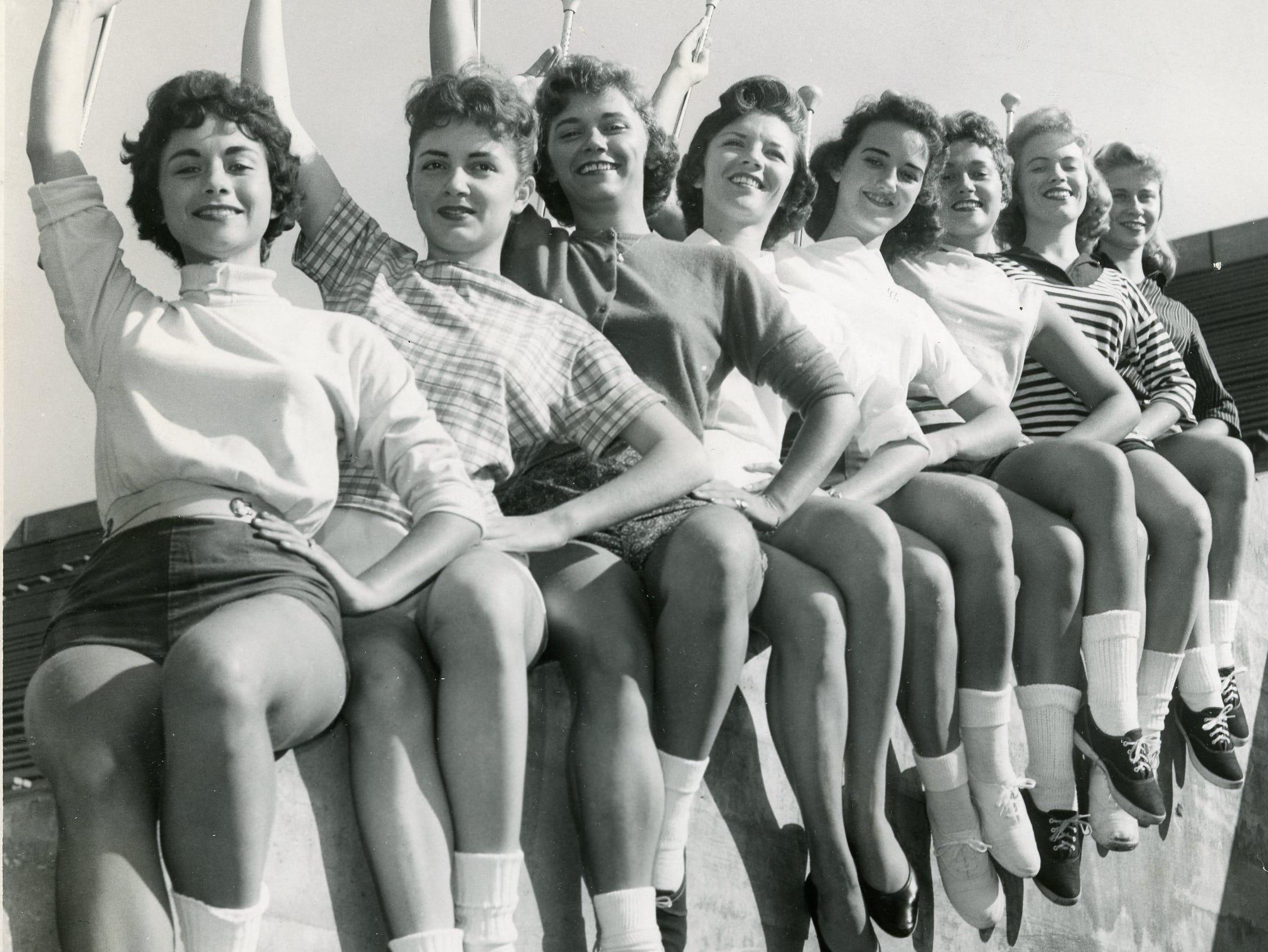 Members of the 1959 UT majorette team included from left: Brenda Jo Smith, Lynda Free, Celia Wright, Mary Ruth DeArmond, Claudette Riley, Phyllis Swann, Helen Newport and Jo Hawk.
