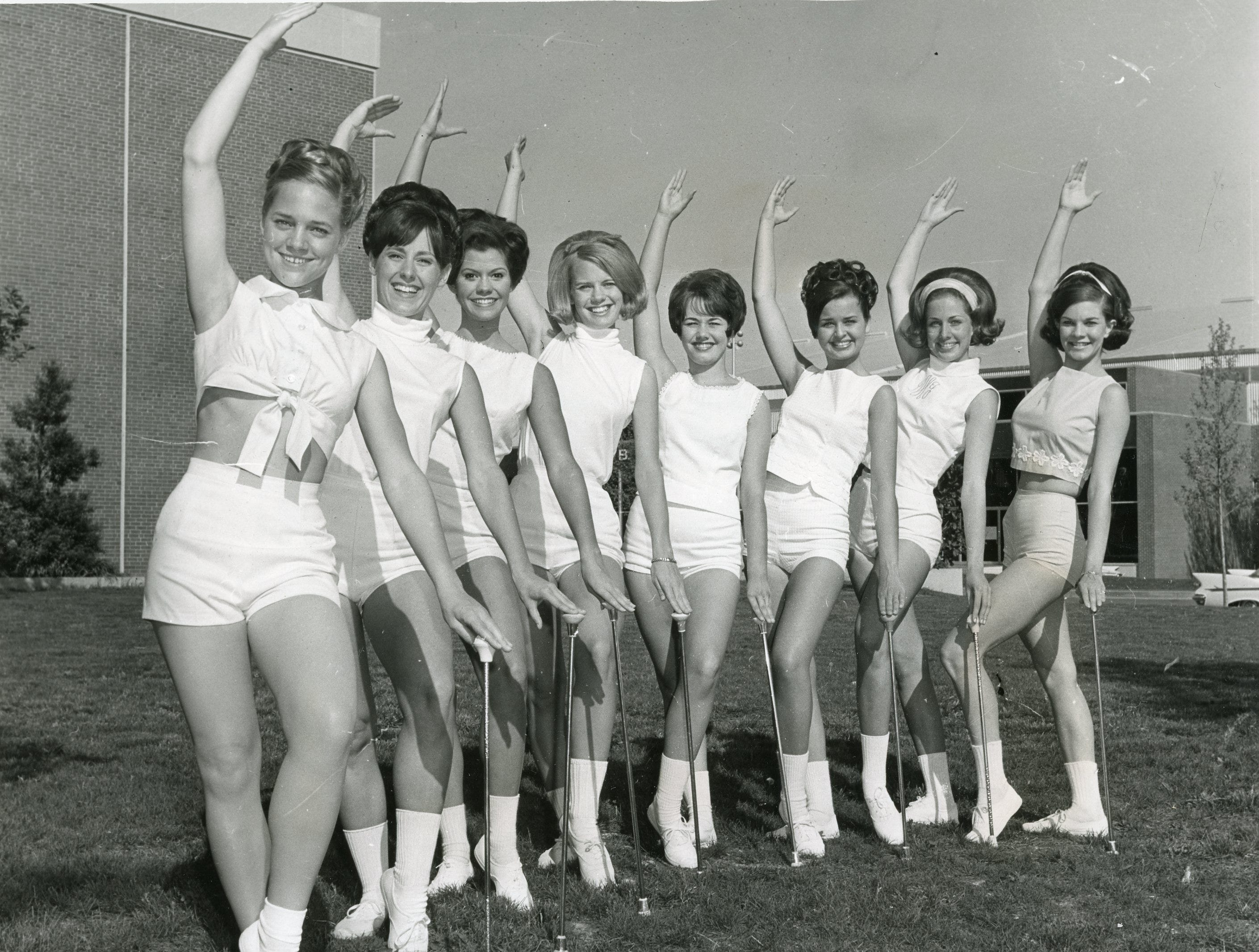 The Pride's newest majorettes, April, 1969 included: Susan Douglass, Pete Payne, Janet Guthrie, Mary Luallen, Karen Crumm, Gail Love, Debbie Holliday and Connie Phillips.