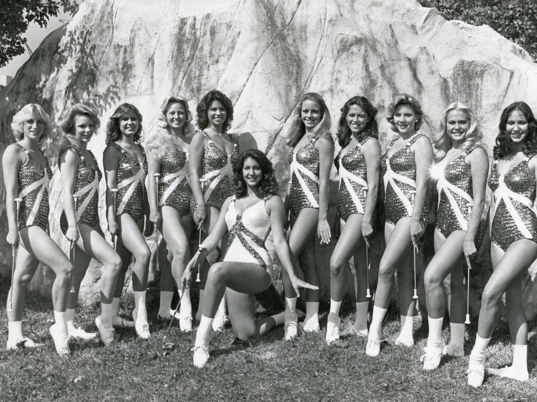 UT majorettes, 1979: Eileen Keeler, Robin Richardson, Betty Lowe, Kather Thrower, Debra McCarrell, Sandy Brown, Karen Beeler, Dawn Pearson, Marty Browning, Angela Floyd; (kneeling) head majorette Nancy Dolfi.