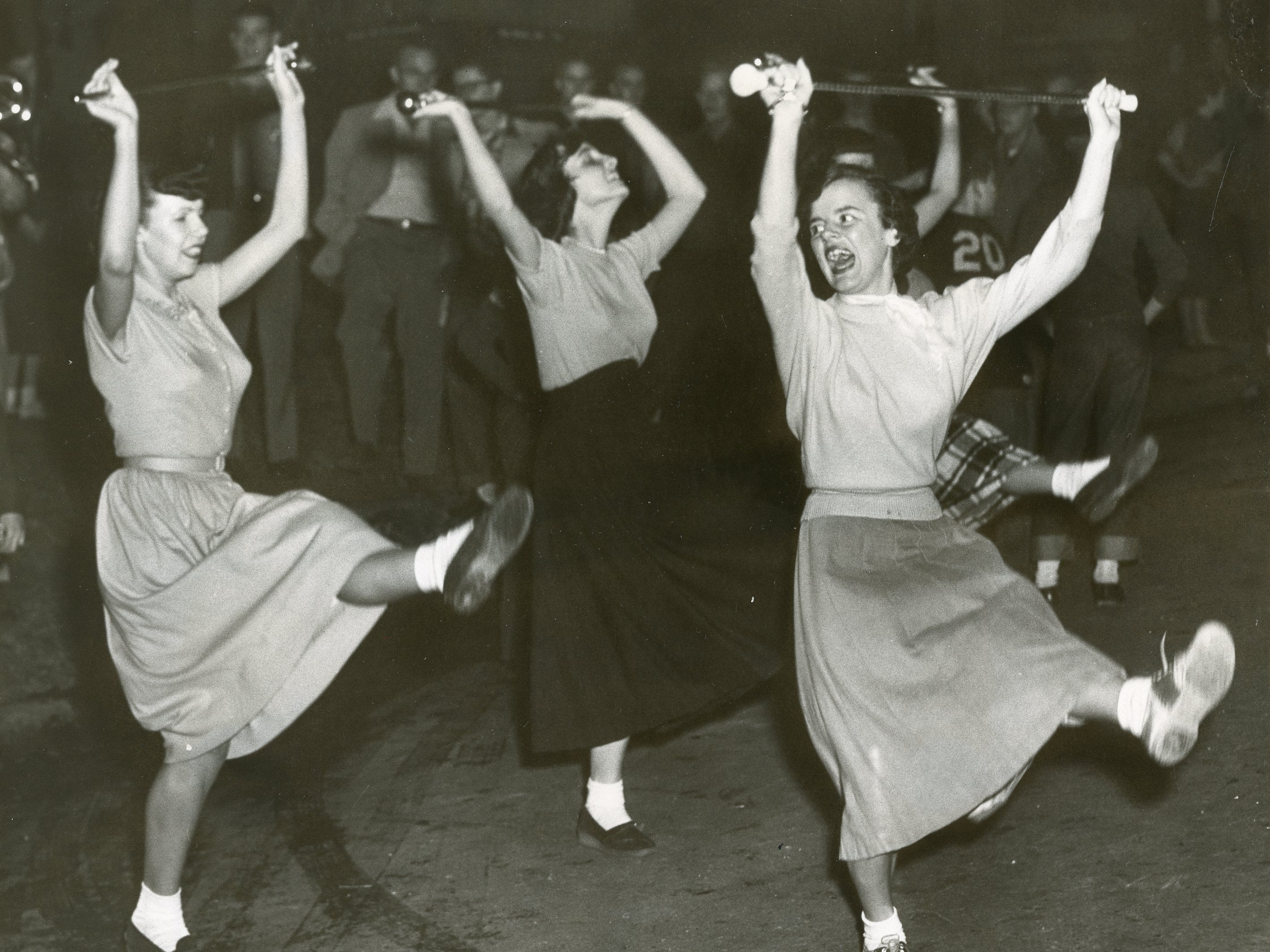 UT majorettes perform during a homecoming pep rally in this undated photo. Pictured are Dorothy Faye Brown, Mary Lee taylor and Barbara Adkisson.