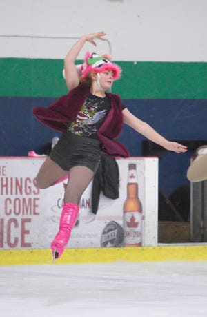 Emily Schelling of Brighton rehearses on Tuesday, July 31, 2018 for a national theatrical figure skating competition this weekend at the Kensington Valley Ice House.