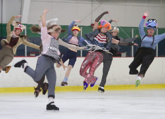Lauren Dowd, center (in shimmery pants), and fellow members of a Showcase Production group practice Tuesday, July 31, 2018 at the Kensington Valley Ice House, which will host the 2018 National Showcase in theatrical figure skating.