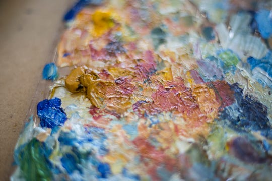 Mixtures of paint used by Richard Sullivan in his painting studio in the Portland neighborhood of Louisville on Friday, July 27, 2018.