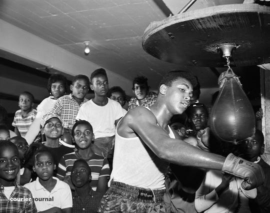 Cassius Clay, (Muhammad Ali) trains for his first professional fight.    Oct. 10, 1960.