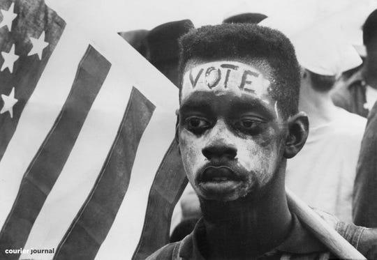 Scenes from the second civil rights march in Selma, Al.  March 25, 1965