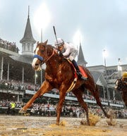Triple Crown winner Justify crosses the finish line to win the Kentucky Derby capturing the first jewel of the Triple Crown of racing. May 5, 2018