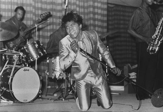James Brown, The King of Soul, got down to business during a concert in Louisville. Sept. 7, 1966
