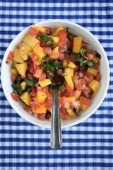 This version of pico de gallo contains mango.