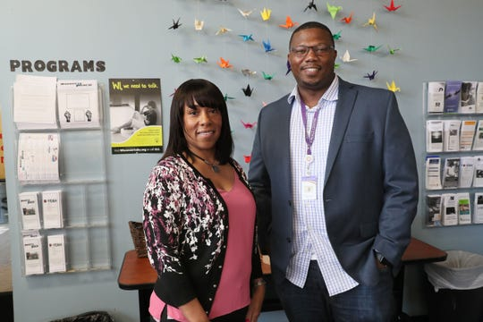 Theresa Barnett and Carnelius Russell are psychiatric clinicians in Milwaukee assigned to the Trauma Response Team, a city-county partnership. They are pictured at Owen's Place, one of the community locations where they work.