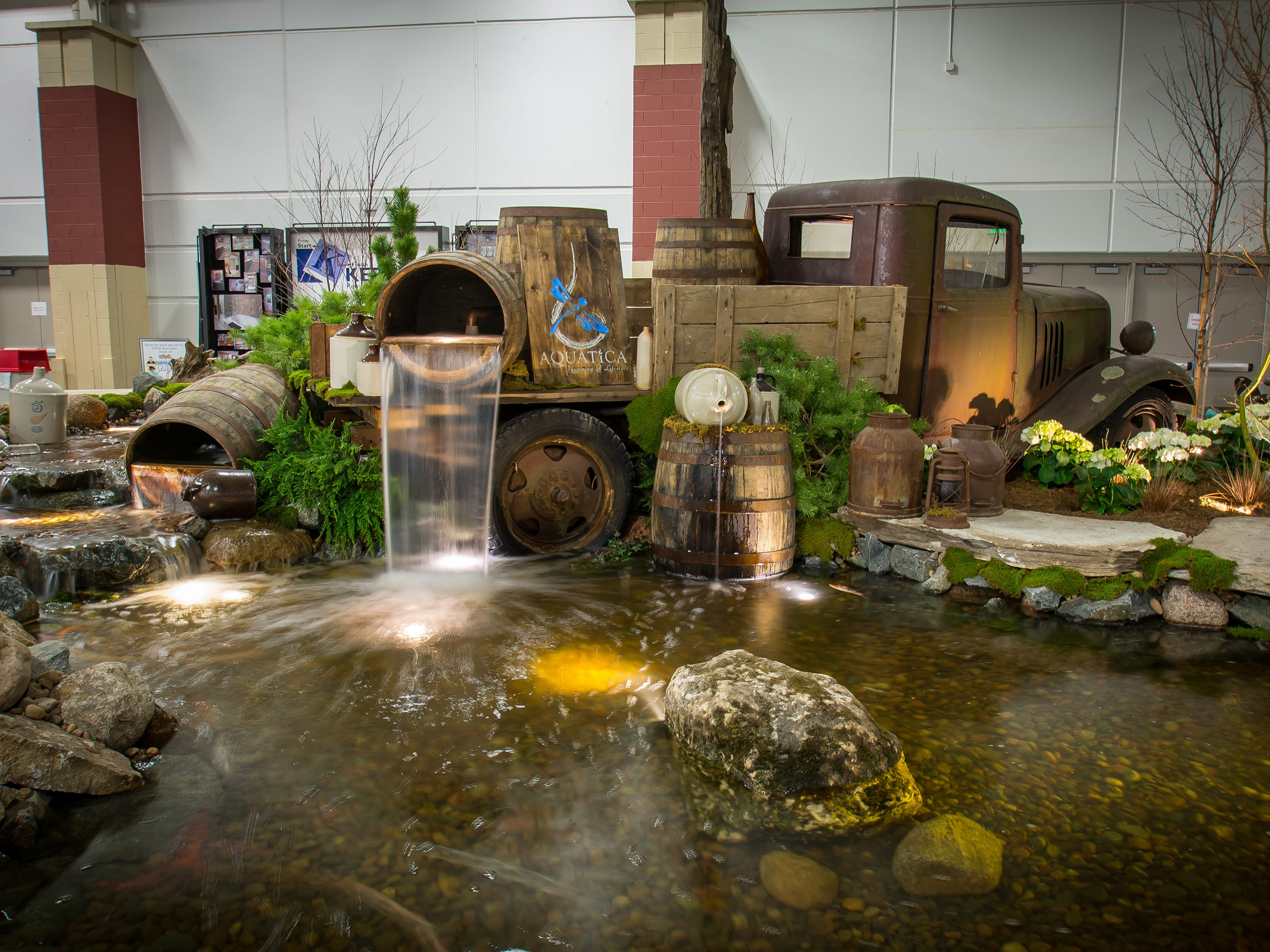 This water setup from Aquatica, using an old truck, was displayed at the Greater Milwaukee Area Realtors Home and Garden show in 2017.
