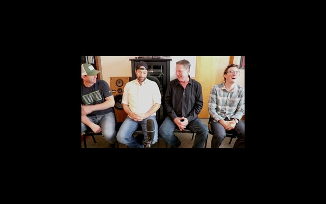 """Songwriters Ben Hayslip, left, Josh Thompson, second from the left, and Matt Dragstrem, far right, talk with Bart Herbison about """"I'll Name the Dogs."""""""