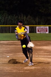 The District 9 Senior Little League softball team beat Canada 6-4 in its first game of the 2018 Little League World Series on Monday night in Roxana, Delaware. Dee Bent throws a pitch.