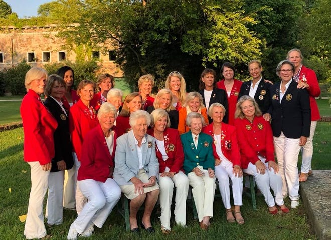 Members of Team North America, including Naples' Mary Jane Hiestand (far right), and Team Europe pose at the pairings dinner for the 2018 Senior Women's Invitation Matches (SWIM) in Venice, Italy, on July 24, 2018. Team North America went on to win, 9 1/2-6 1/2.