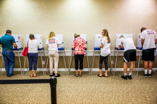 People participate in a straw vote during Politics in the Park at the Naples Area Board of Realtors in Naples on Tuesday, July 31, 2018. Attendees met with local and state candidates up for commissioner seats, school board seats, fire district, and state Senate and representative seats.