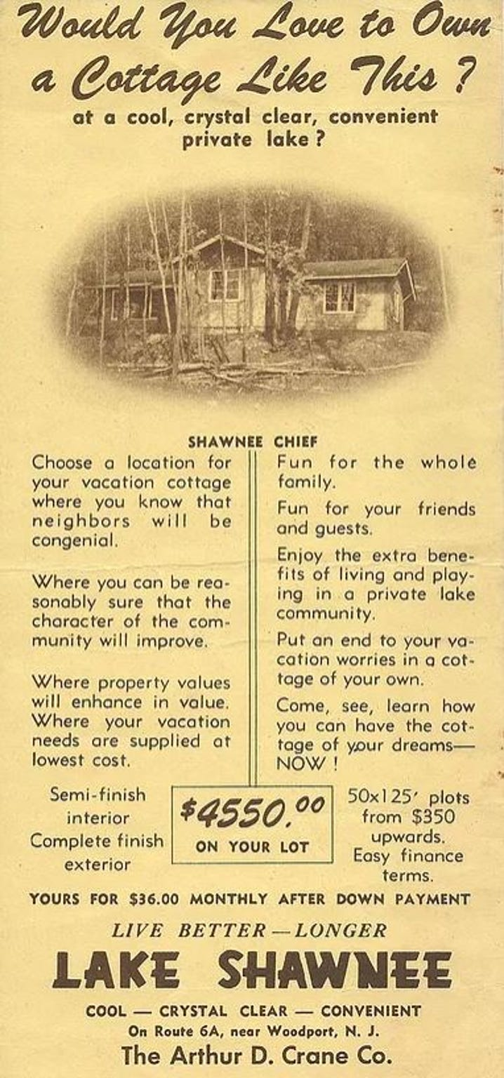 Original Arthur D. Crane Company brochures advertise homes in Lake Shawnee, a private lake community in Jefferson Township, N.J. established in 1946. The community's first two homes were built in 1948.