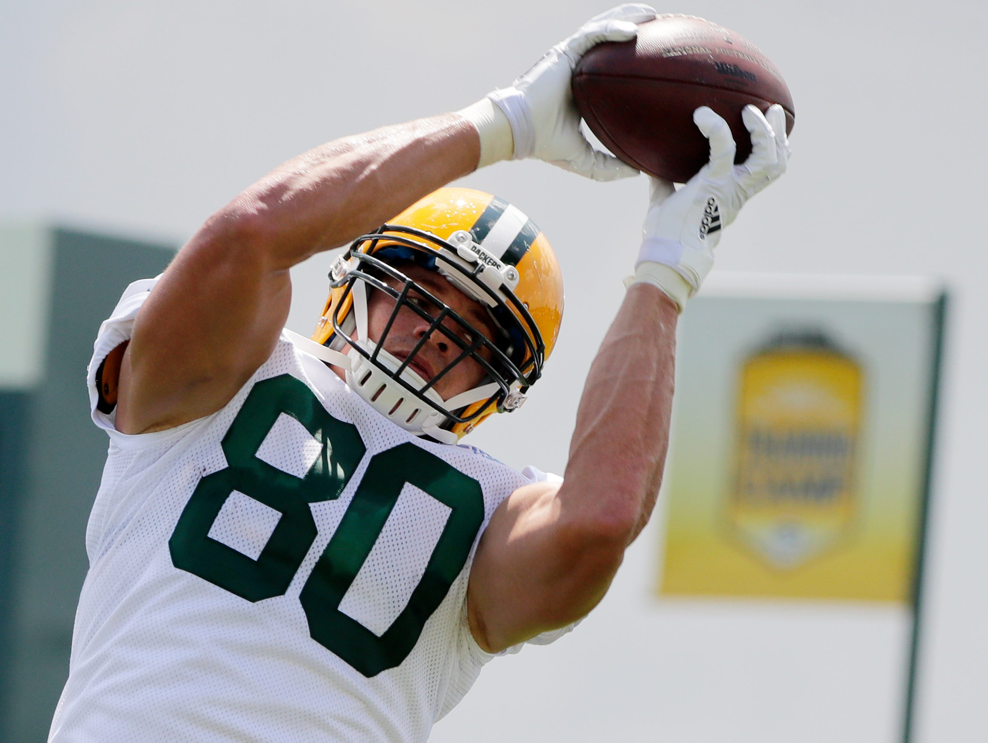 Green Bay Packers tight end Jimmy Graham (80) catches a ball during training camp practice at Ray Nitschke Field on Monday, July 30, 2018 in Ashwaubenon, Wis. Adam Wesley/USA TODAY NETWORK-Wisconsin