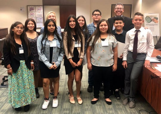 Students and prosecutors with the District Attorney's Office in the Larson Justice Center courtroom where they held a mock trial as part of the District Attorney's Law and Leadership Academy, July 27, 2018.
