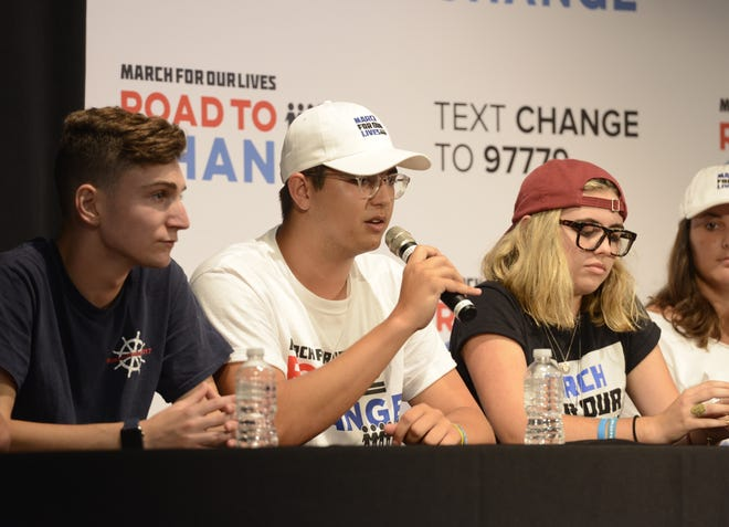 Robert Schrentrup, a 2017 graduate of Marjory Stoneman Douglas High School, talks Monday, July 30, 2018, during a town hall at the University of West Florida about the Parkland shooting. His sister was killed in the school shooting in February.